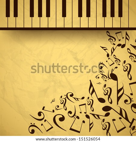 Vintage musical background with piano and musical notes, can be use as flyer, poster, banner or background for musical parties and concert. - stock vector