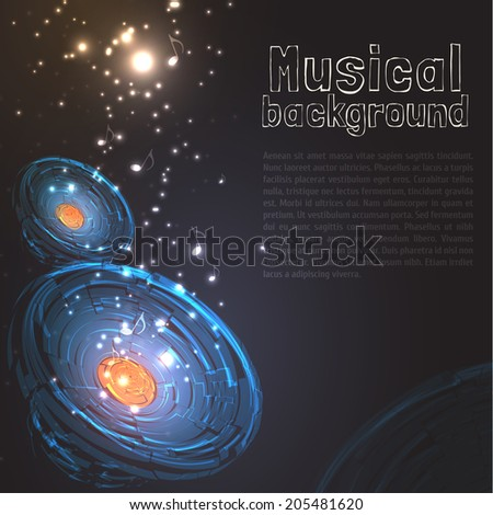Vintage Musical Background with Speakers, Particles and Your Text. Vector Illustration for Artwork, Party flyers, Posters, Banners - stock vector