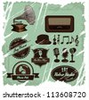 Vintage musictive labels and signs set with one detailed retro gramophone - stock vector