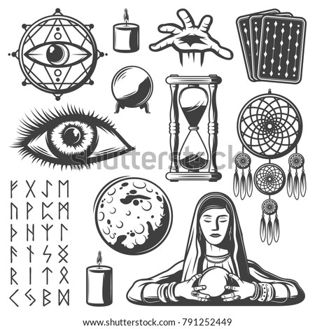 Vintage Mystic Elements Set Third Eye Stock Photo Photo Vector