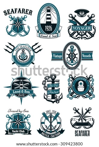 Vintage nautical badges with marine anchors, helms, compass roses, diving helmet, lighthouses, spyglasses, paddles, captain cap, tridents, framed by lifebuoys, shields, ropes, chains and ribbons - stock vector