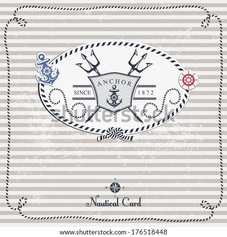 Vintage Nautical Card With Frame, Anchor And Wheel. - stock vector