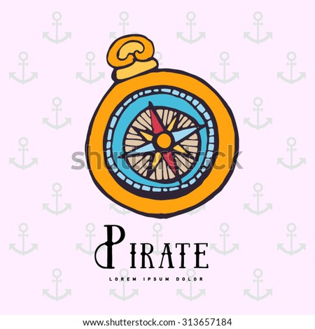 Vintage nautical compass. Symbol of pirates. Icon navigation. Old school design. Calligraphy. Colorful - stock vector
