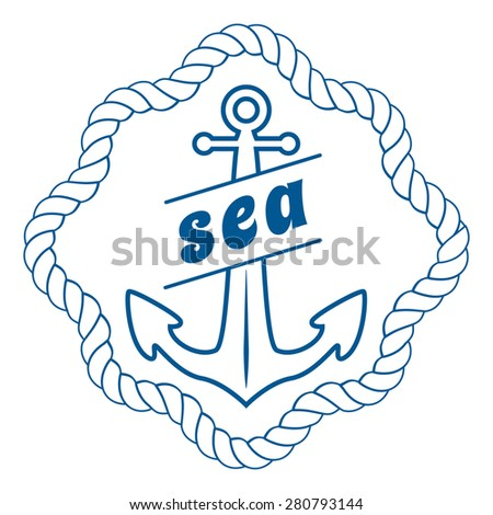 vintage nautical label, icon and design element - stock vector