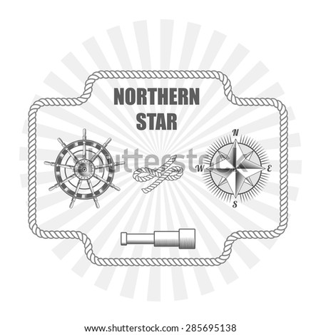 vintage nautical label icon and design element - stock vector