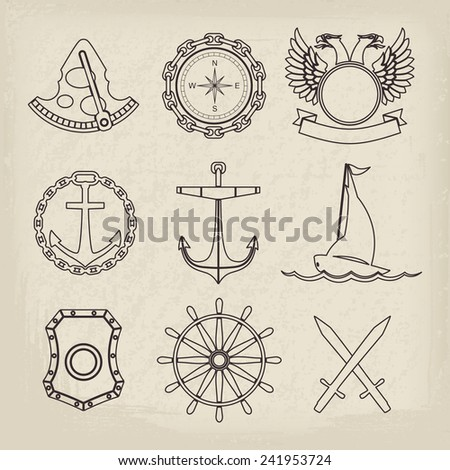 Vintage nautical labels, icons and design elements. Vector set - stock vector