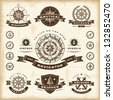 Vintage nautical labels set. Fully editable EPS10 vector. - stock