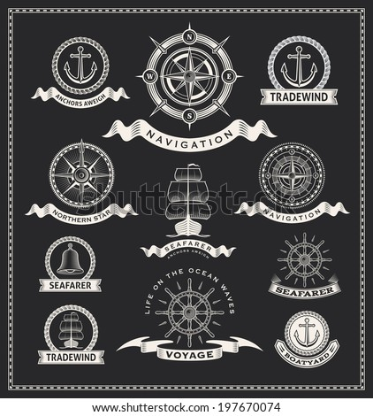 Vintage nautical labels. Vector design set - stock vector