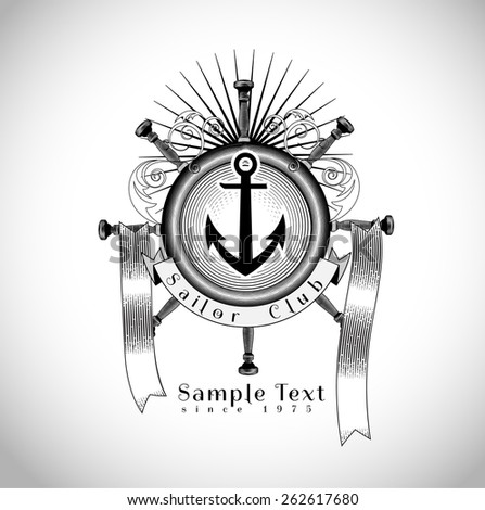 vintage  nautical or marine themed logo vector illustration in classic engraving style - stock vector