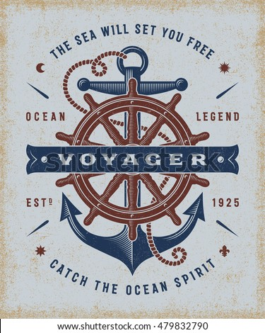 Vintage Nautical Voyager Typography. T-shirt and label graphics in woodcut style. Editable EPS10 vector illustration.