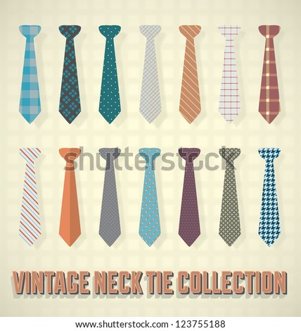 Vintage Neck Tie Collection - stock vector