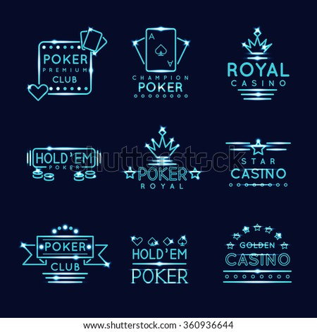 Vintage neon hipster poker club and casino signs. Royal gambling play, risk and chance, vector illustration - stock vector