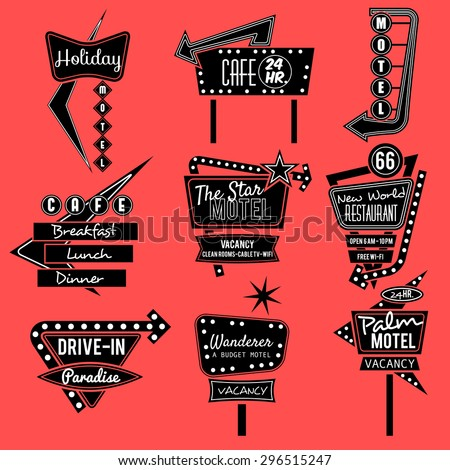 Vintage Neon Signroad Tripblack And Whit Old Sign