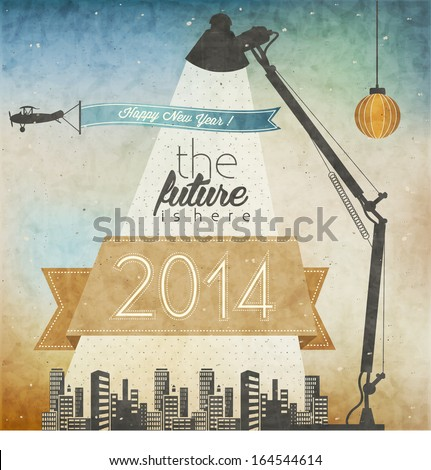 Vintage New Year's Eve Card. Retro cartoon style New Year greetings illustration. Vintage Christmas Postcard Illustration. New 2014 year greeting card. Happy new Year 2014 - stock vector