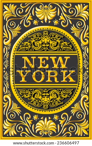 Vintage New York Label Plaque, Hipster Black and Gold. New York Poster.