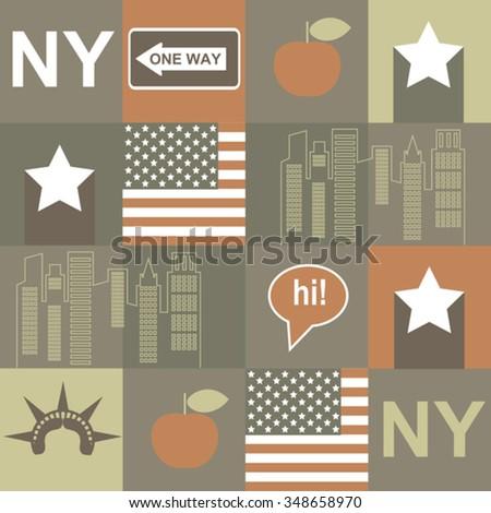 vintage New York pattern - stock vector