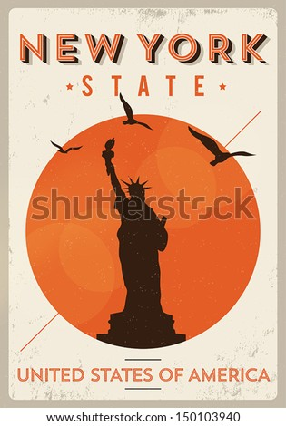 Vintage New York Poster - stock vector