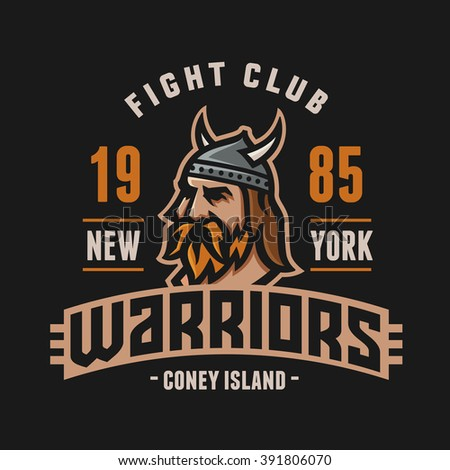 Vintage New York Warriors Fight Club Tshirt Apparel Fashion Print. Retro Hand Made Tee Graphics. Old School Americana Style. Athletic Department Aesthetics. Sport Logo. Viking's Head. Dark Version. - stock vector