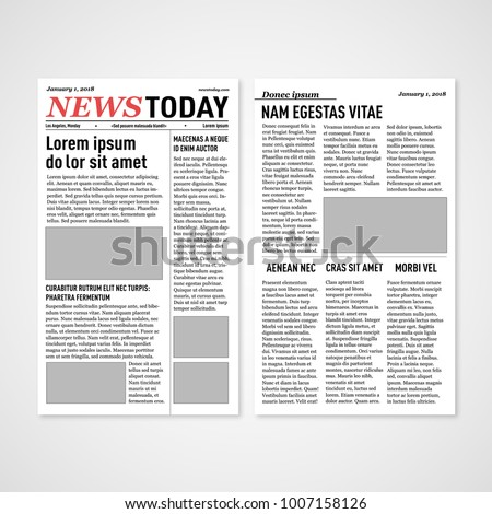 Vintage Newspaper Vector Template Paper Tabloid Stock Vector
