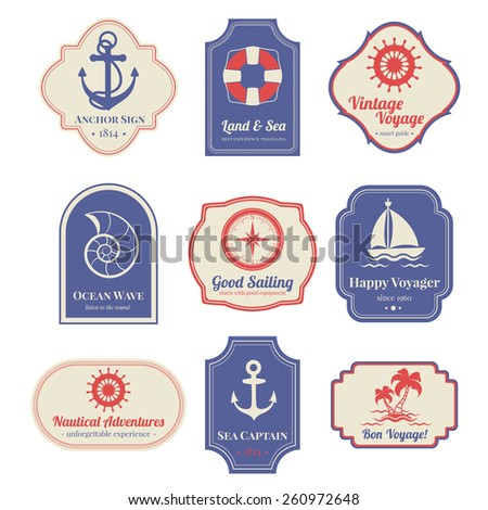 Vintage nostalgic nautical adventures voyage travel agency old marine  decorative emblems labels collection  abstract isolated vector illustration - stock vector