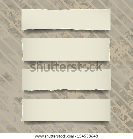 Vintage note papers on cardboard paper background - Vector illustration - stock vector