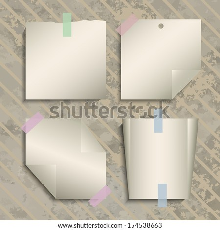 Vintage note papers stick on cardboard paper background - Vector illustration