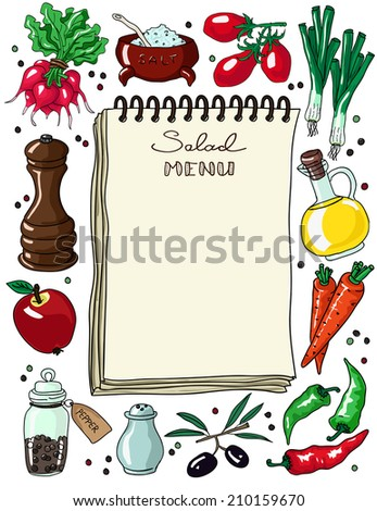 Vintage notebook for recipe or menu surrounded by food ingredients and vegetables. Hand drawn vector illustration. - stock vector