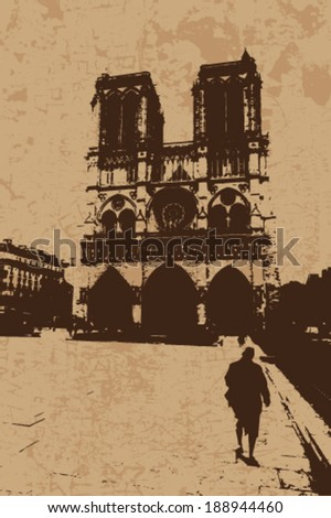 Vintage Notre Dame Cathedral vector card - stock vector