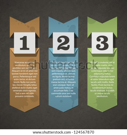 Vintage numbered labels folded. Realistic paper effects. EPS10 vector. - stock vector