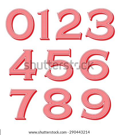 Vintage numbers set - stock vector