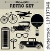 vintage objects collection. vector illustration - stock vector