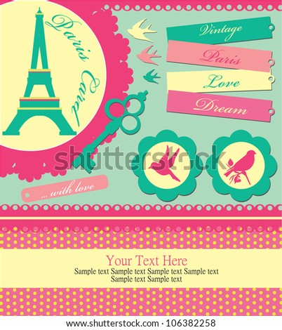 vintage objects scrapbook collection. vector illustration - stock vector