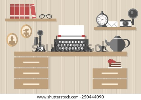 vintage office - stock vector