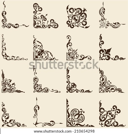 Vintage old corner set on beige - stock vector