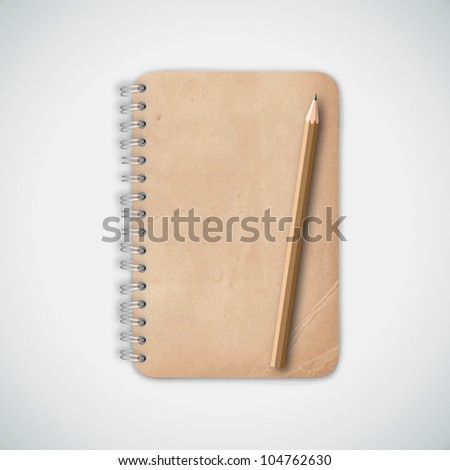 Vintage Old Notebook Paper with Pencil Vector - stock vector