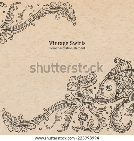 Vintage old paper texture with vector detailed art-nouveau decorative engraved floral marine ornament, hand drawn fish and swirls - stock vector