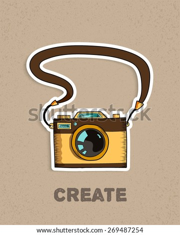 vintage old photo camera on old textured beige background,  applique, sketch vector illustration - stock vector