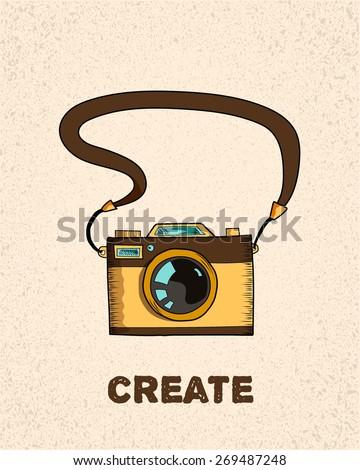 vintage old photo camera on textured beige background,  sketch vector illustration - stock vector