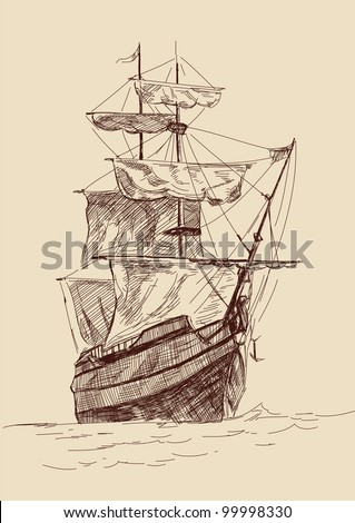 vintage old Ships illustration. - stock vector