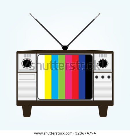 Vintage old television with color bars test image. Vector illustration in flat design. - stock vector