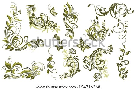 Vintage olive design elements - stock vector