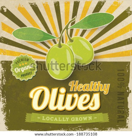 Vintage Olive label poster vector illustration - stock vector