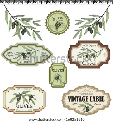 Vintage olive labels set. Vector collection - stock vector