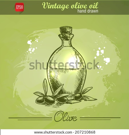 Vintage olive oil bottle with olive branch. Hand drawn. Watercolor green grunge background - stock vector