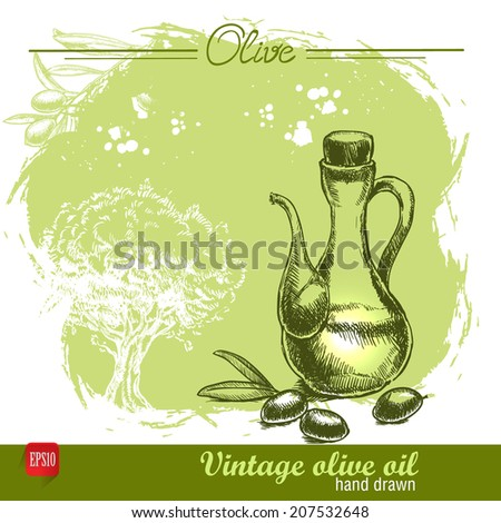 Vintage olive oil bottle with olive tree. Hand drawn. Watercolor green grunge background - stock vector