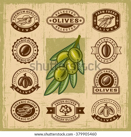 Vintage olive stamps set. Editable EPS10 vector illustration with transparency. - stock vector