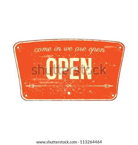 vintage open sign vector illustration - stock vector