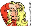 Vintage or retro cartoon cowgirl with a sad expression on her face and crying in sixties pop art style. - stock vector