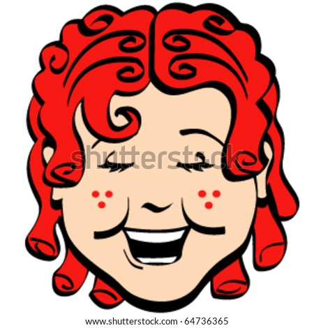 Vintage or retro girl with red hair and freckles, smiling with a happy expression on her face.