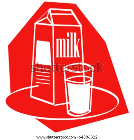 Vintage or retro 1950s style illustration of a carton and glass of milk. - stock vector